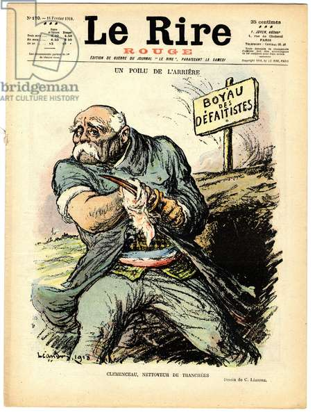 "Cover of """" The Red Laughter"""", Satirical in Colors, 1918_2_16: War of 14 -18: a hairy from the rear, Clemenceau Trench Cleaner - Slices, Defaitistes Pessimism - Clemenceau George, Hairy - Illustration by Charles Leandre (1862-1934)"