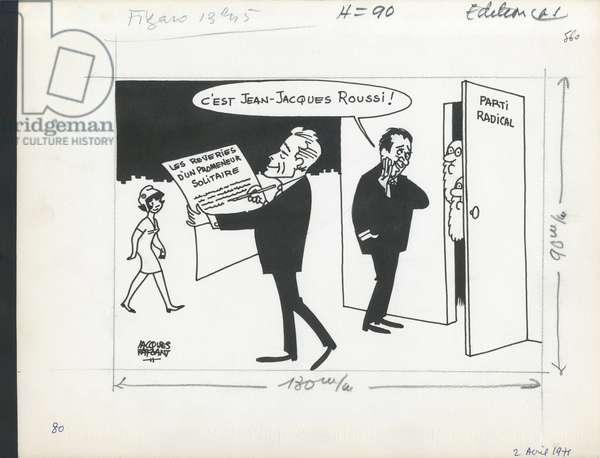 Le Figaro, Satirique en N & B, 1971_4_2: Radicalism - Marianne, Servan-Schreiber Jean-Jacques - Illustration by Jacques Faizant (1918-2006)