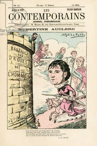 """Cover of """""""" Les Contemporains"""""""", number 15, 1881 - Illustration by Alfred Le Petitty (1841-1909): Feminism anti-feminism Women's Law, Bastille - Femmes, Auclerc Hubertine (1848-1914), Feminist"""