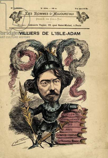 Cover of Les Hommes d'aujourd'hui, number 258,, illustration by Coll-toc (1854-?) : Knight Chevalier, Armor - Auguste de Villiers de l'Isle-Adam (l'Isle Adam) (1838-1889) - Reserved rights