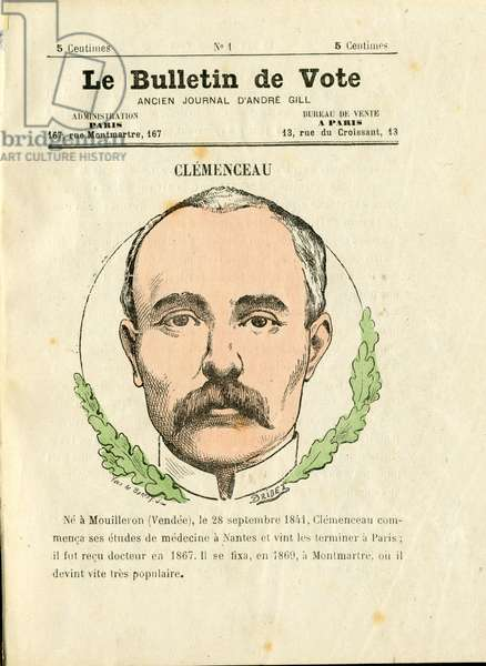 Bulletin de vote 2e serie, Satirique en Couleurs, vers 1879 : Clemenceau George
