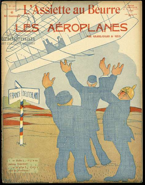 """Cover of """""""" The Butter Plate"""""""", number 398, Satirique en Colours, 1908_11_14: Germany Prussia, Aviation, Frontières - Illustration by J Gris (1887-1927)"""