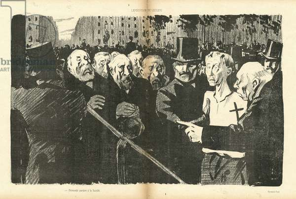 Illustration by Hermann-Paul (1864-1940) in Le Canard Sauvage, 1903-4-18 - Death penalty Execution Echafaud