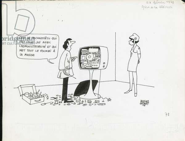 Le Figaro, Satirique en N & B, 1979_2_28: Social, Television, Greve - Marianne - Illustration by Jacques Faizant (1918-2006)