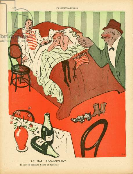 L'Plate au beurre, number 457, Satirique en couleurs, 1910_1_1: Architecture interietre, Adultere - Illustration by J Gris (1887-1927)