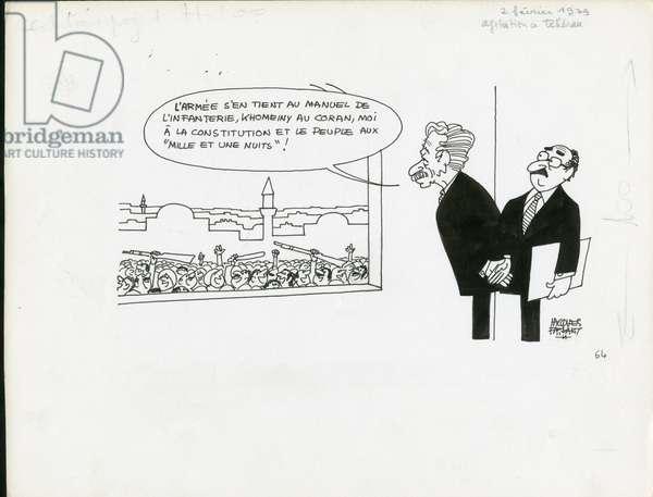 Le Figaro, Satirique en N & B, 1979_2_2: Iran - Khomeiny, Bakhtiar Chapour - Illustration by Jacques Faizant (1918-2006)