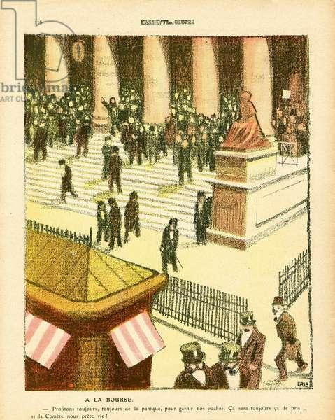 L'Plate au beurre, number 476, Satirique en couleurs, 1910_5_14: Bourse, Speculation, Comete, Astronomy, Fin du monde - Illustration by J Gris (1887-1927)