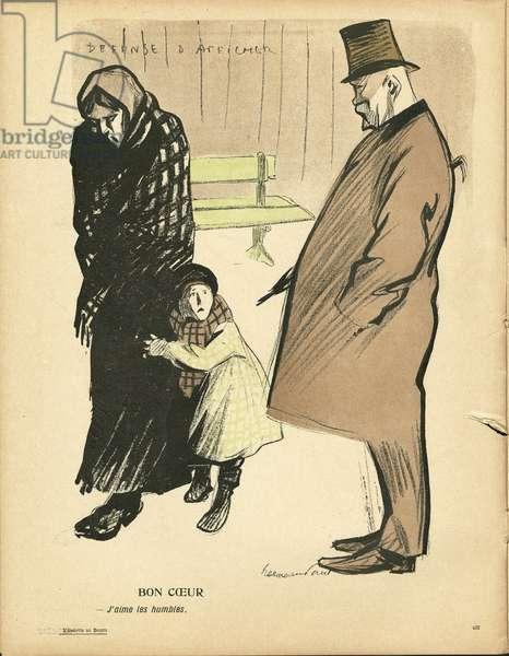 L'Plate au beurre, number 236, Satirique en couleurs, 1905_10_6: Bon coeur - Misere, Vie des riches - Women - Illustration by Hermann-Paul (1864-1940)