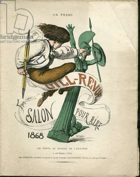 """Illustration of Louis Alexandre Gosset de Guines dit Gill (1840-1885) for the Cover of """""""" Gill-Revue"""""""", 1868 - Painting salons, Verifier dates, Self-portrait, Caricature salons - Gill Andre"""