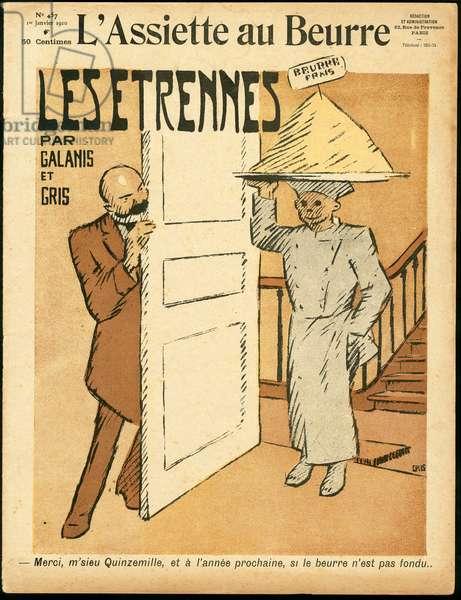 "Cover of """" L'Plate au beurre"""", number 457, Satirique en Colours, 1910_1_1: Fifteen mille, Plate au beurre, Parliamentary indemnities - Illustration by J Gris (1887-1927)"