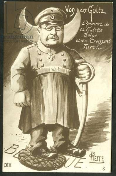 Postcard, Satirique in N & B, ca. 1915: Gustav Adolf Joachim Rudiger Graf von der Goltz (1865-1946) - War of 14 -18, Turkey, Belgium, Crime murder, homicide - Von der Goltz Illustration by C Pieite