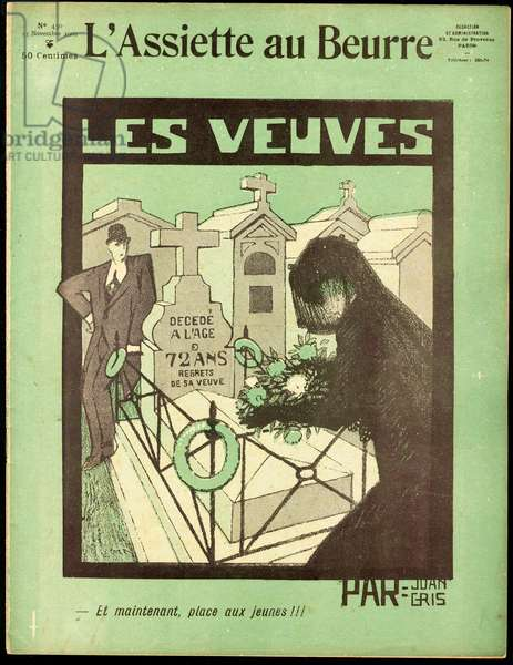 """Cover of """""""" L'Plate au beurre"""""""", number 450, Satirique en couleurs, 1909_11_13: Love, Cemetery, Mourning Obseques Funeral, Widower, Widower - Illustration by J Gris (1887-1927)"""