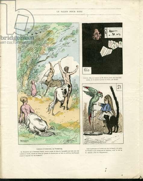 "Illustration by Louis Alexandre Gosset de Guines dit Gill (1840-1885) in """" Gill-Revue"""", 1868 - Art, Painting salons, Caricature salons - Zola Emile, Manet Edouard"