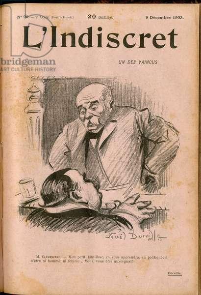 """Cover of """""""" L'Indiscret"""""""", Satirique en N & B, 1903_12_9: Chamber of Deputes - Clemenceau George, Lintilhac Eugene (1854-1920) - Illustration by Noel Dorville (1861-1938)"""