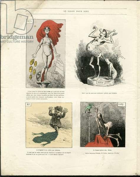 """Illustration of Louis Alexandre Gosset de Guines dit Gill (1840-1885) in """""""" Gill-Revue"""""""", 1868 - Art, Painting salons, Caricature salons - Puvis de Chavannes, Rodin Auguste"""