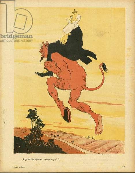 L'Plate au beurre, number 181, Satirique en couleurs, 1904_9_17: Belgium - Leopold II, Diable - Illustration by Georges d'Ostoya-Sochinsky (D'Ostoya) (1878-1937)