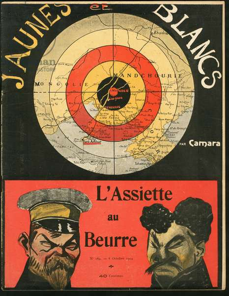 Cover of The Butter Plate, number 183, Satirique en Colours, 1904_10_8: Russia, Belgium, Japan, Russo-Japanese War - Leopold II (1835-1909) - Illustration by Leal de Camara (1877-1948)