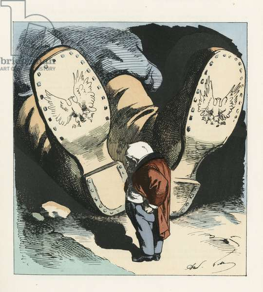 Illustration of Louis Alexandre Gosset de Guines dit Gill (1840-1885) for the Cover of L'Eclipse, 1873-1-12 - Censorship, President of the Republic, Shoe - Thiers Adolphe - Change of scale