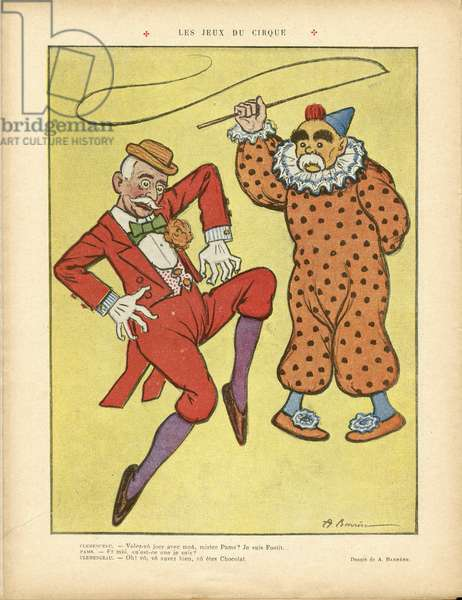 Illustration of A Barrere (1874-1931) in Le Rire, 22/02/13 - Circus Games - Clemenceau George, Pams Jules (1852-1930), Circus, Carnival/Game/Circus