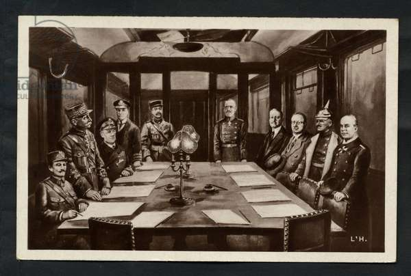 The Signing of the Armistice on 11th November 1918 at 5 a.m., 1918 - First World War - Armistice sign between Germany and allies in Compiegne Forest, Nov. 11, 1918.-1 Marechal Foch, 2 Admiral Wemyss, 3 American Delegate, 4 General Weygand, 5 M. Erzberger, 6 General V. Gundell, 7 General W. Winterfeldt, 8 Count Oberndorff - Postcard, 1918: Signing of the Armistice - War of 14 -18, Armistice - Foch, Weygand