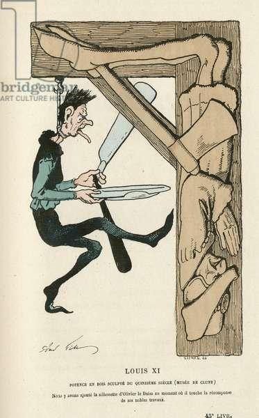 Illustration of Louis Alexandre Gosset de Guines dit Gill (1840-1885) in Histoire de France tintamarresque, 1880 - Suicide, Ancien regime, Musee de Cluny - Louis XI