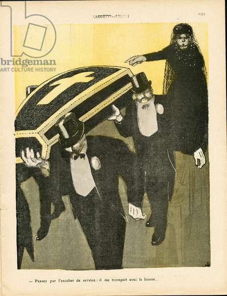 The Butter Plate, number 450, Satirical in Colours, 1909_11_13: Adultere, Obsequous Funeral, Widower, Widower - Domestic Housewives - Illustration by J Gris (1887-1927)