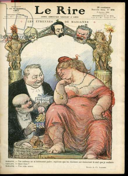 Illustration of Charles Leandre (1862-1934) for the Cover of Le Rire, 03/01/14 - Les strennes de Marianne - Tribun - Clemenceau George, Jaures Jean, Briand Aristide, Marianne, Caillaux Joseph (1863-1944)