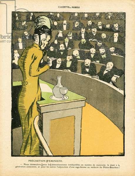 L'Plate au beurre, number 474, Satirique en couleurs, 1910_4_30: Feminism anti, Chamber of Deputes, Maternity, Natalism Natalite, Valenciennes - Women - Illustration by J Gris (1887-1927)