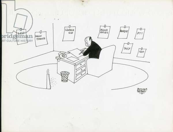 Jours de France, Satirique en N & B, 1979_3_3: Social, Greve - Barre Raymond - Illustration by Jacques Faizant (1918-2006)