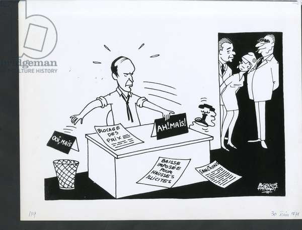 Le Figaro, Satirique in N & B, ca. 1971_6_30: President of the Republic, Life dear, Economy, Price Blocking - Giscard d'Estaing Valery, Pompidou Georges, Chaban Delmas Jacques - Illustration by Jacques Faizant (1918-2006)