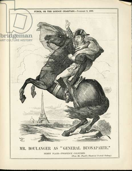 Illustration of John Tenniel (1820-1914) in Punch, 1889-2-9 - Eiffel Tower, English language, Foreign press - Boulanger Georges (1837-1891), Napoleon I - Historical metaphore