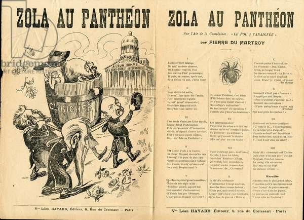 Song illustree, Satirique en, ca. 1906: Zola au pantheon - Case Dreyfus, Pantheon - Zola Emile, Clemenceau George, Jaures Jean, Brisson Henri (1835-1912), Dreyfus Alfred