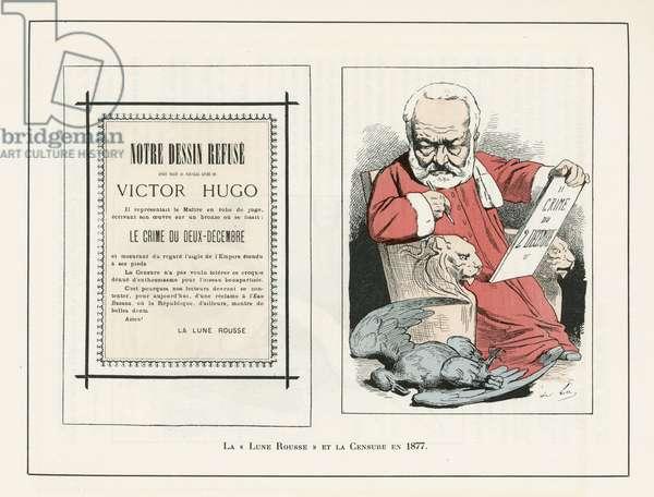 Illustration of Louis Alexandre Gosset de Guines dit Gill (1840-1885) in La Lune rousse, 1877-10-14 - Censorship, Verifier dates - Hugo Victor