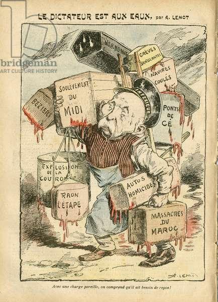 Illustration of Achille Lemot (1846-1909) in Le Pelerin, 18/08/07 - Le dictateur est aux eaux - Greve, Morocco, Crisis wine-growing Revolte des vignerons, Narbonne, Beziers, Les Ponts-de-Ce - Clemenceau George