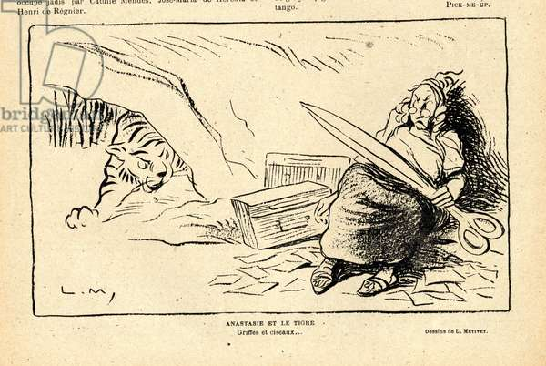 Le Rire rouge, Satirique en N&B, 1917_12_1 : War of 14 -18: Anastasia and the tiger, claws and scissors - Censorship - Anastasia, Tiger  (engraving)