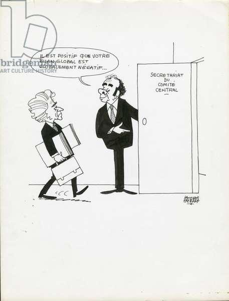 Jours de France, Satirique en N & B, 1979_5_19: Communist Party - Marchais Georges, Leroy Laurent - Illustration by Jacques Faizant (1918-2006)
