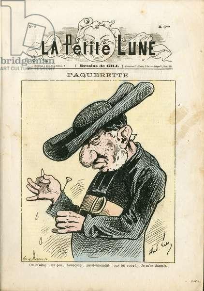 La Petite Lune, number 2, 1878_6_21 - Illustration by Louis Alexandre Gosset de Guines dit Gill (1840-1885): Paquerettes - Anticlericalism - Failure of the Church - Veuillot Louis (1813-1883), Devot/Parroissian, Jesuites