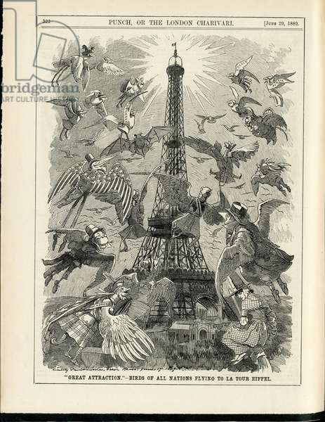 Illustration of Sambourne (1844-1910) in Punch, 1889-6-29 - Paris, Eiffel Tower, English Language, Foreign Press - Birds -, Animation