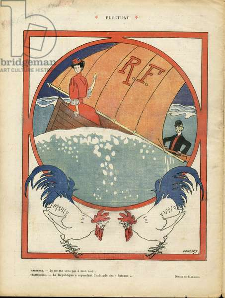 Le Laugher, number 263, Satirical in Colours, 1908_2_15: Fluctuat - Marine Marine Seaside, Fighting, Three-color Flag, Yachting - Clemenceau George, Marianne, Coq - Illustration by Markous (1883-1941)