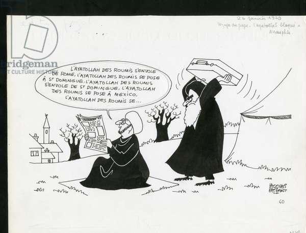 Le Figaro, Satirique en N & B, 1979_1_26: Iran - Khomeiny - Illustration by Jacques Faizant (1918-2006)