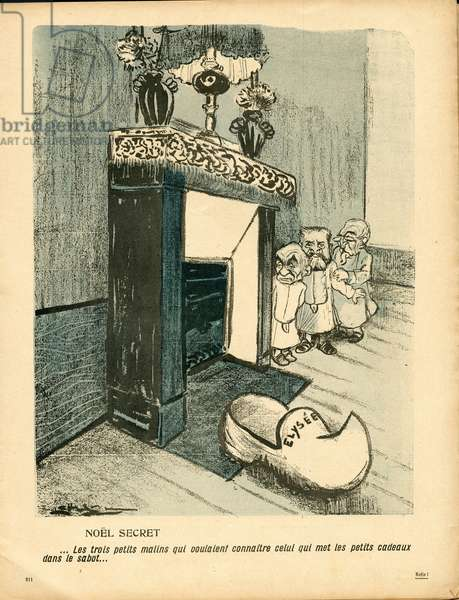 L'Plate au beurre, number 247, Satirique en couleurs, 1905_12_23: Noel, Elysee - Combes Emile, Clemenceau George, Jaures Jean - Illustration by Leal de Camara (1877-1948)