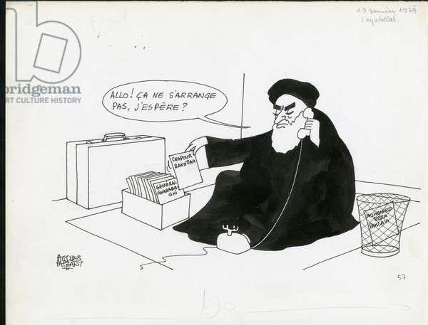 Le Figaro, Satirique en N & B, 1979_1_19: Iran - Khomeiny - Illustration by Jacques Faizant (1918-2006)