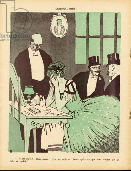 L'Plate au beurre, number 450, Satirical en couleurs, 1909_11_13: Dance, Mourning Obseques, Show, Widower - Illustration by J Gris (1887-1927)