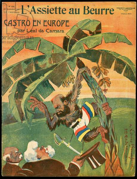 Cover of the Butter Plate, number 404, Satirique en Colours, 1908_12_26: President of the Republic, Identifier, Official Visit - Clemenceau George, Fallieres Armand - Illustration by Leal de Camara (1877-1948)
