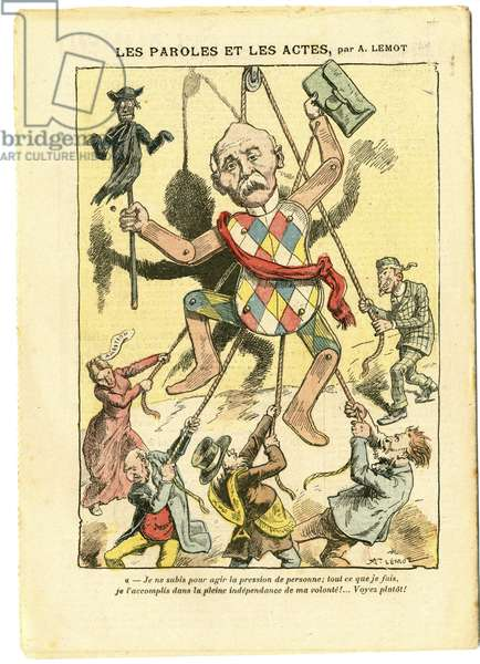 Illustration by Achille Lemot (1846-1909) in Le Pelerin, 21/03/09 - Words and Deeds - Antisemitism, Antimaconism Freemaking, England Great Britain, Religion Faith, Catholic Catholicism - Clemenceau George, Jew, Cures - Choseification, Reification
