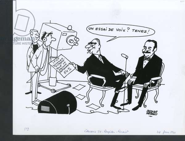 Le Figaro, Satirique in N & B, ca. 1971_6_24: Press/Media, Television, President of the Republic, Polls, Ifop - Pompidou Georges - Illustration by Jacques Faizant (1918-2006)