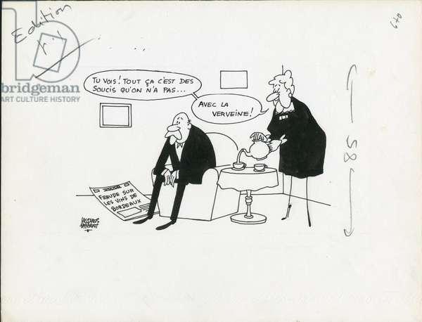 Le Figaro, Satirique en N & B, 1973_8_28: Wine - Illustration by Jacques Faizant (1918-2006)