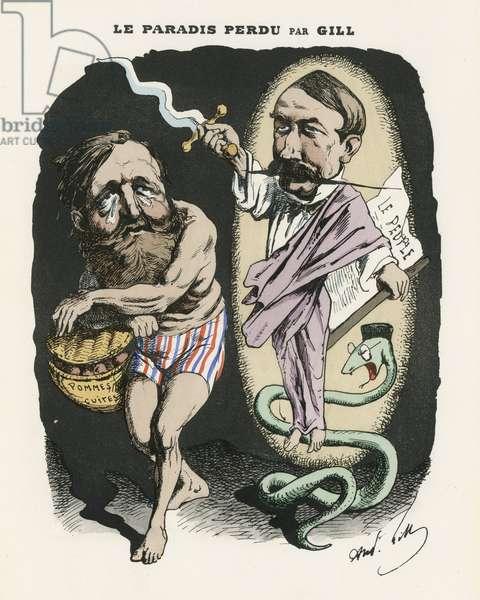 Illustration of Louis Alexandre Gosset de Guines dit Gill (1840-1885) for the Cover of L'Eclipse, 1870-6-25 - Le paradis perdu - Censorship - Paradis - Vitu, Serpents, Duvernois Clement (1836-1879) - Metaphore religieuse