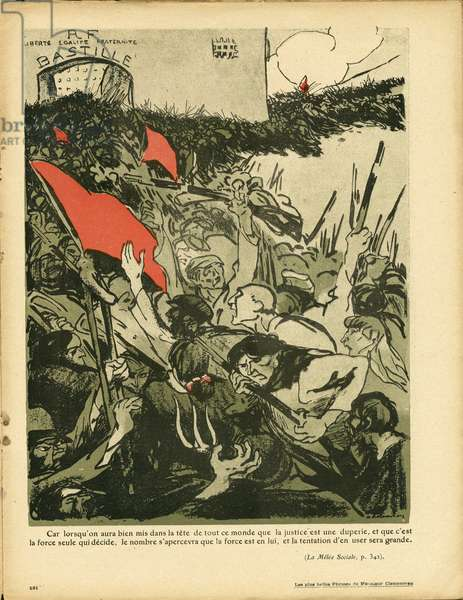 L'Plate au beurre, number 401, Satirique en couleurs, 1908_12_5: Social, Feminism anti, Red Flag, Emotes revolts, Bastille - Clemenceau George, Women - Illustration by Aristide Delannoy (1874-1911)