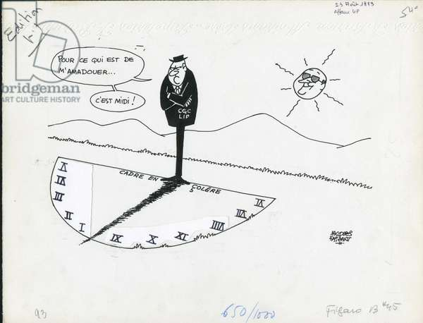 Le Figaro, Satirique en N & B, 1973_8_23: Social, Cgc, Lip - Illustration by Jacques Faizant (1918-2006)